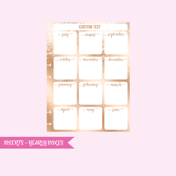 fairy dust - yearly boxes | single-sided inserts - pack of 10 | The Happy Planner - classic | IN-103