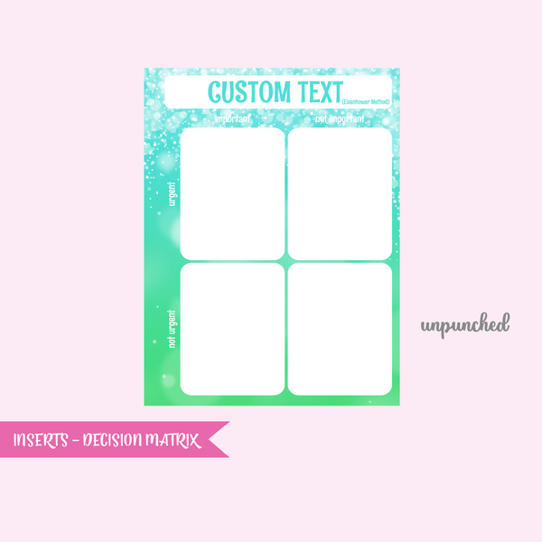 fairy dust - decision matrix | single-sided insert - pack of 10 | The Happy Planner - classic | IN-109