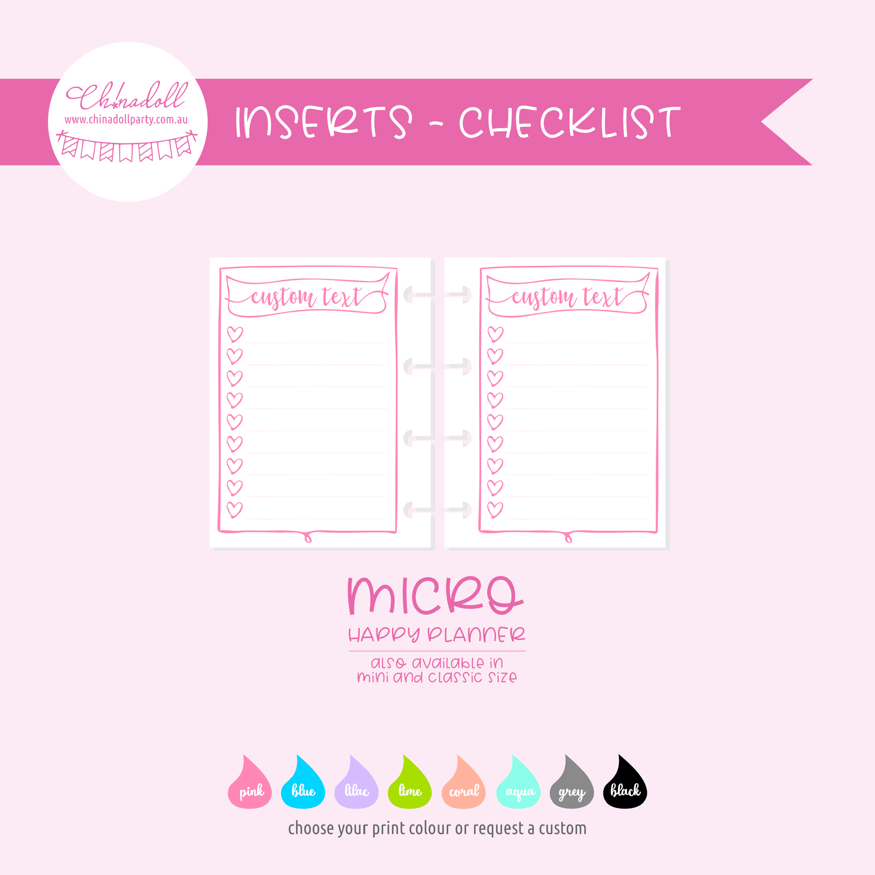 simple - checklist hearts | double-sided inserts - pack of 10 | The Happy Planner - classic mini micro | IN-211