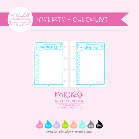simple - checklist circles | double-sided inserts - pack of 10 | The Happy Planner - classic mini micro | IN-210