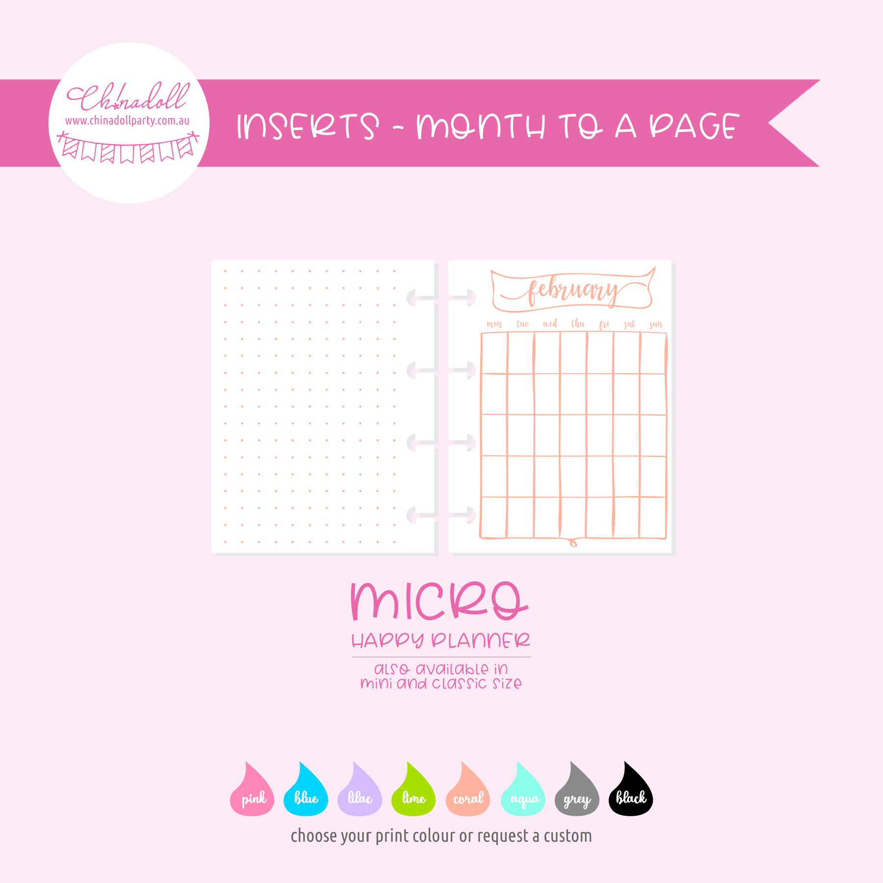 simple - month to a page | double-sided inserts - pack of 12 | The Happy Planner - classic mini micro | IN-205