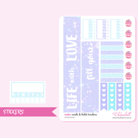 easter girls - washi and habit trackers | sticker sheet | ECLP vertical | KIT-EAS-VLP-G03