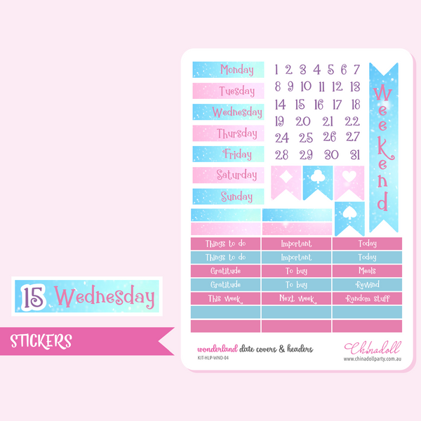 alice in wonderland sticker kit | ECLP horizontal | KIT-HLP-WND