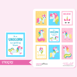 rainbow unicorn - full boxes | sticker sheet | ECLP vertical | KIT-UNIC-VLP-01