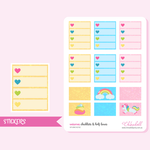 rainbow unicorn - checklists and half boxes | sticker sheet | ECLP vertical | KIT-UNIC-VLP-02