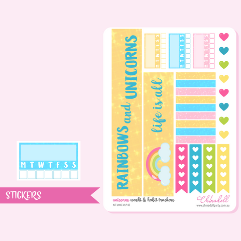 rainbow unicorn - washi and habit trackers | sticker sheet | ECLP vertical | KIT-UNIC-VLP-03