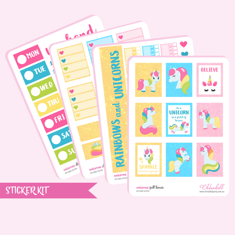rainbow unicorn sticker kit | ECLP vertical | KIT-UNIC-VLP