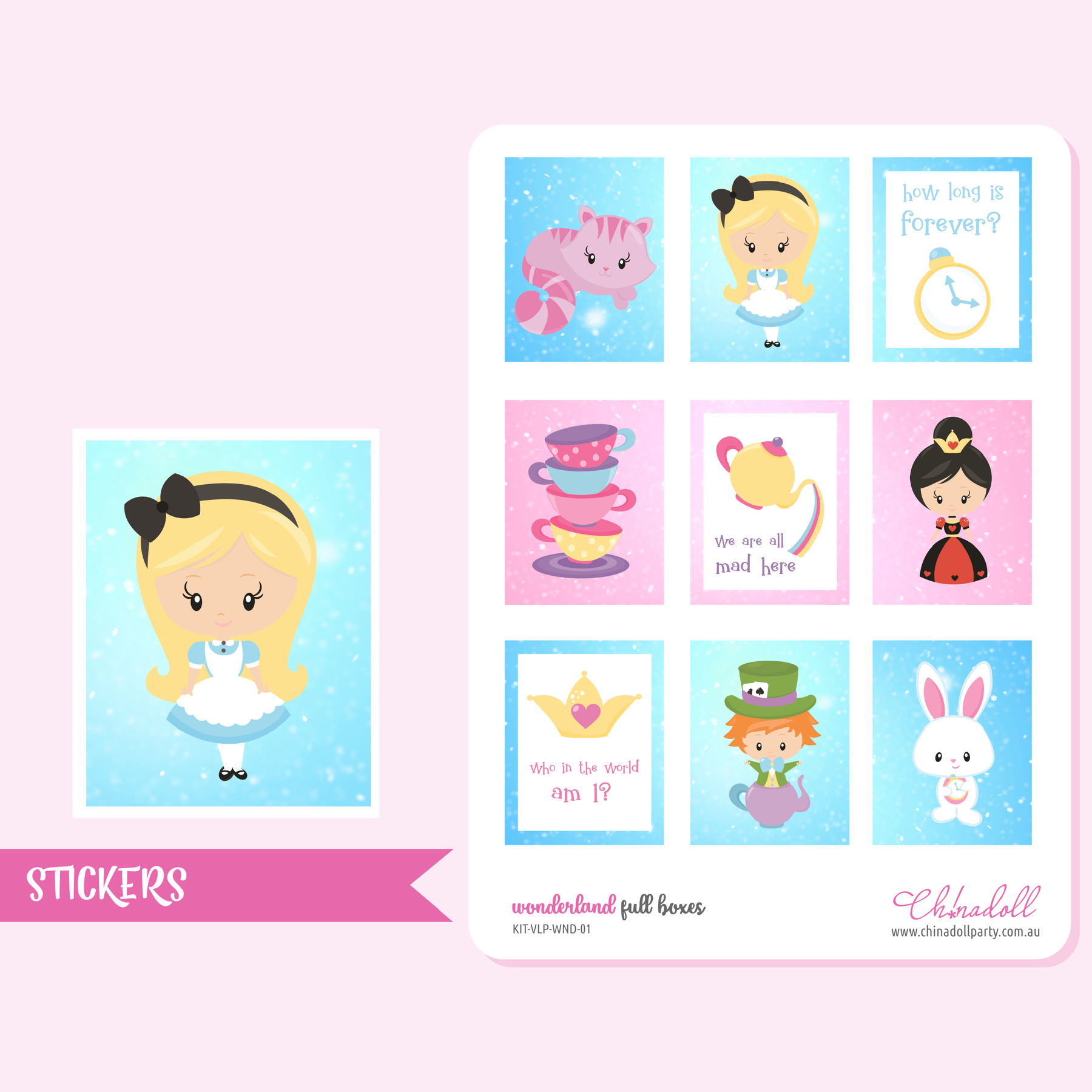 alice in wonderland - full boxes | sticker sheet | ECLP vertical | KIT-VLP-WND-01
