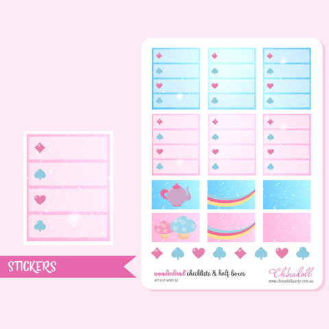 alice in wonderland - checklists and half boxes | sticker sheet | ECLP vertical | KIT-VLP-WND-02