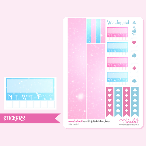 alice in wonderland - washi and habit trackers | sticker sheet | ECLP vertical | KIT-VLP-WND-03