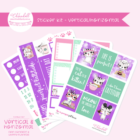 life is purrfect | weekly sticker kit | ECLP vertical & horizontal | LP-301 to LP-304