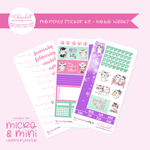 life is purrfect | monthly sticker kit | hobonichi weeks | LP-551 to LP-553