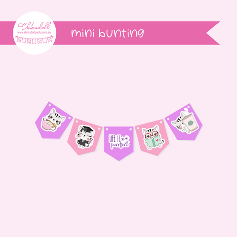 life is purrfect | mini bunting | LP-941
