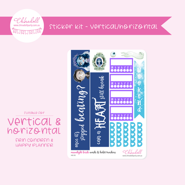 corpse bride - moonlight bride | weekly sticker kit | ECLP vertical & horizontal | MB-301 to MB-304