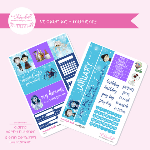 corpse bride - moonlight bride | monthly sticker kit | ECLP and Happy Planner | MB-351 to MB-352