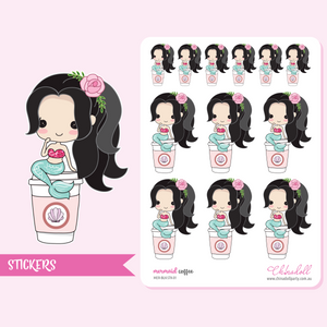 mermaid - coffee | sticker sheet large | MER-BLK-STK-01