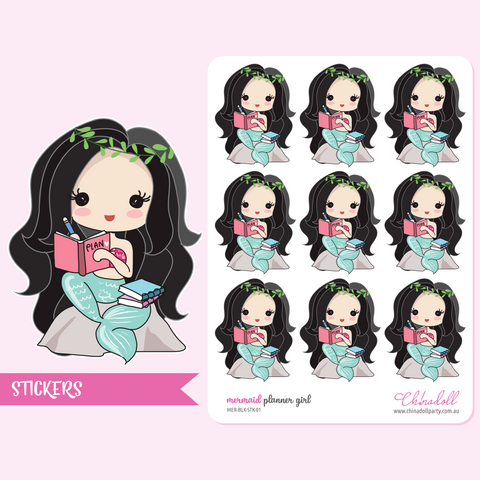 mermaid - planner girl | sticker sheet large | MER-BLK-STK-01