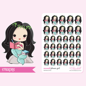 mermaid - planner girl | sticker sheet | MER-BLK-STK-02