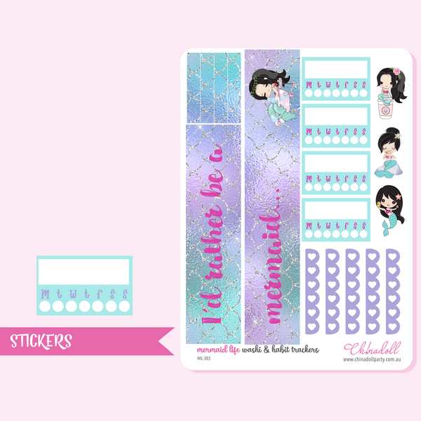 mermaid life weekly sticker kit | ECLP vertical | ML-301 to ML-304