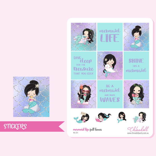 mermaid life weekly sticker kit | ECLP horizontal | ML-351 to ML-354