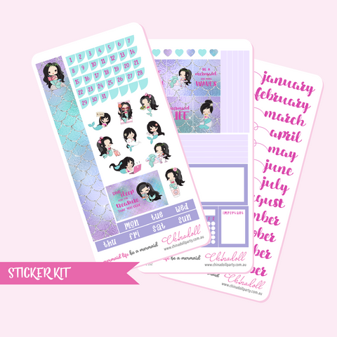 mermaid life - monthly sticker kit | hobonichi weeks | ML-551 to ML-553