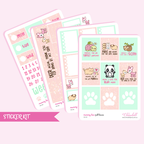 mummy love weekly sticker kit | ECLP vertical | MU-301 to MU-304