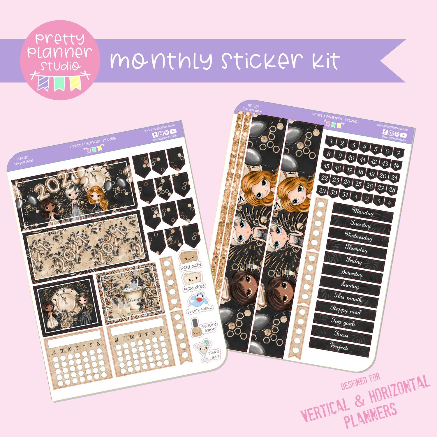 New year cheer | monthly sticker kit | vertical or horizontal | NY-132