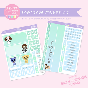Poppy and friends | monthly sticker kit | vertical or horizontal | PF-132