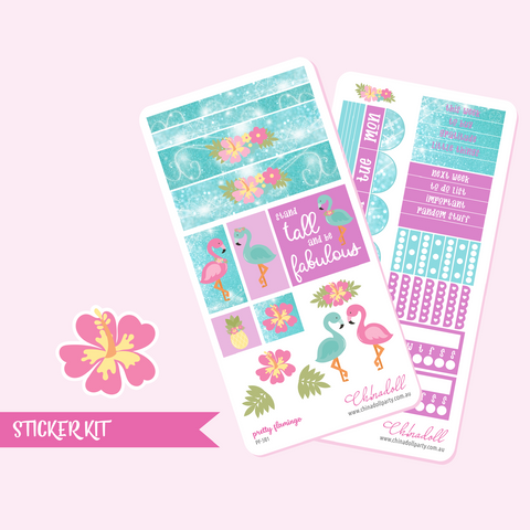 pretty flamingo | weekly sticker kit | hobonichi weeks | PF-501 and PF-502