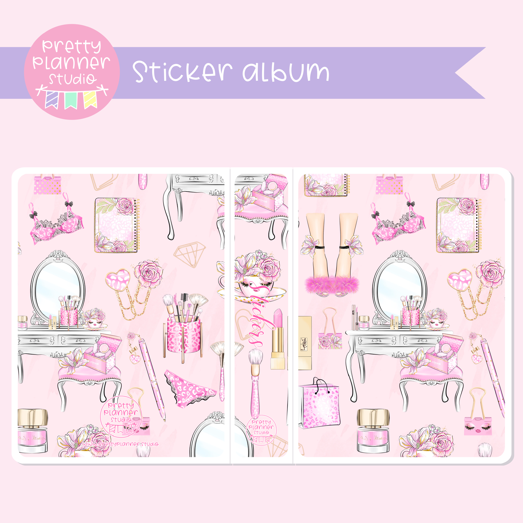 My pink boudoir - Dresser | sticker book | PI-007/3