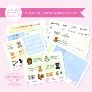 save our animals | weekly sticker kit | HP dashboard - classic | SA-621C to SA-628C