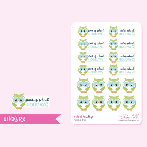 school holidays - owl | sticker sheet | SCH-HOL-OWL