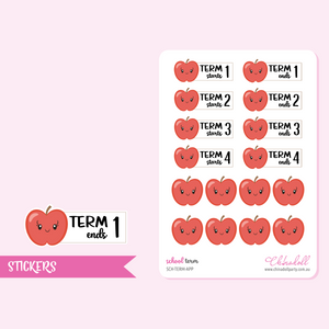 school term - apple | sticker sheet | SCH-TERM-APP