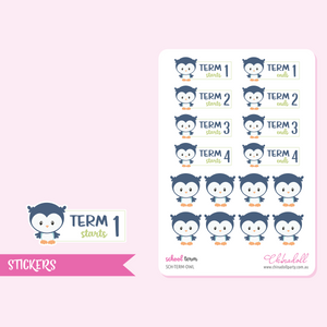 school term - owl | sticker sheet | SCH-TERM-OWL