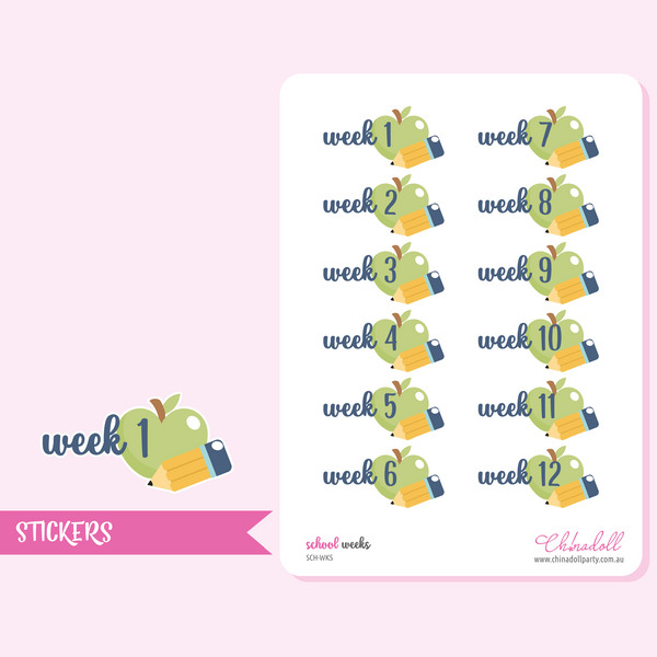 school - week numbers | sticker sheet large | SCH-WKS