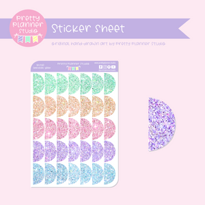 Shapes - semi-circles - glitter | sticker sheet | SH-214/2