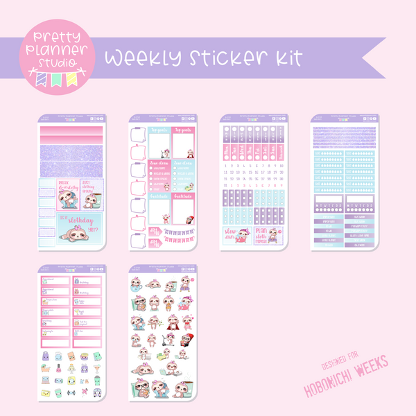 Sloth Life II | weekly sticker kit | Hobonichi Weeks | SL-211