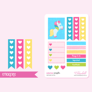 rainbow unicorn - sampler | sticker sheet | ECLP vertical | SMP-UNIC-VLP-02