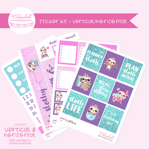sloth life | weekly sticker kit | ECLP vertical & horizontal | SO-301 to SO-304