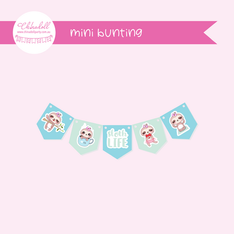 sloth life | mini bunting | SO-941
