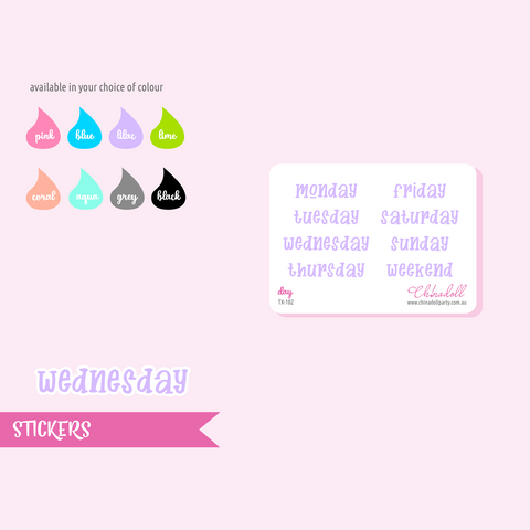 text - days | sticker sheet | TX-102