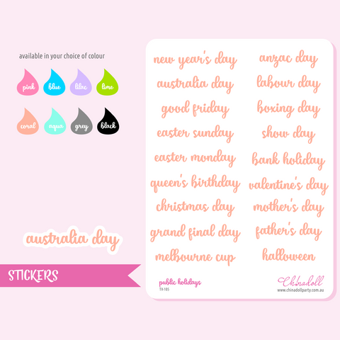 text - public holidays | sticker sheet | TX-105