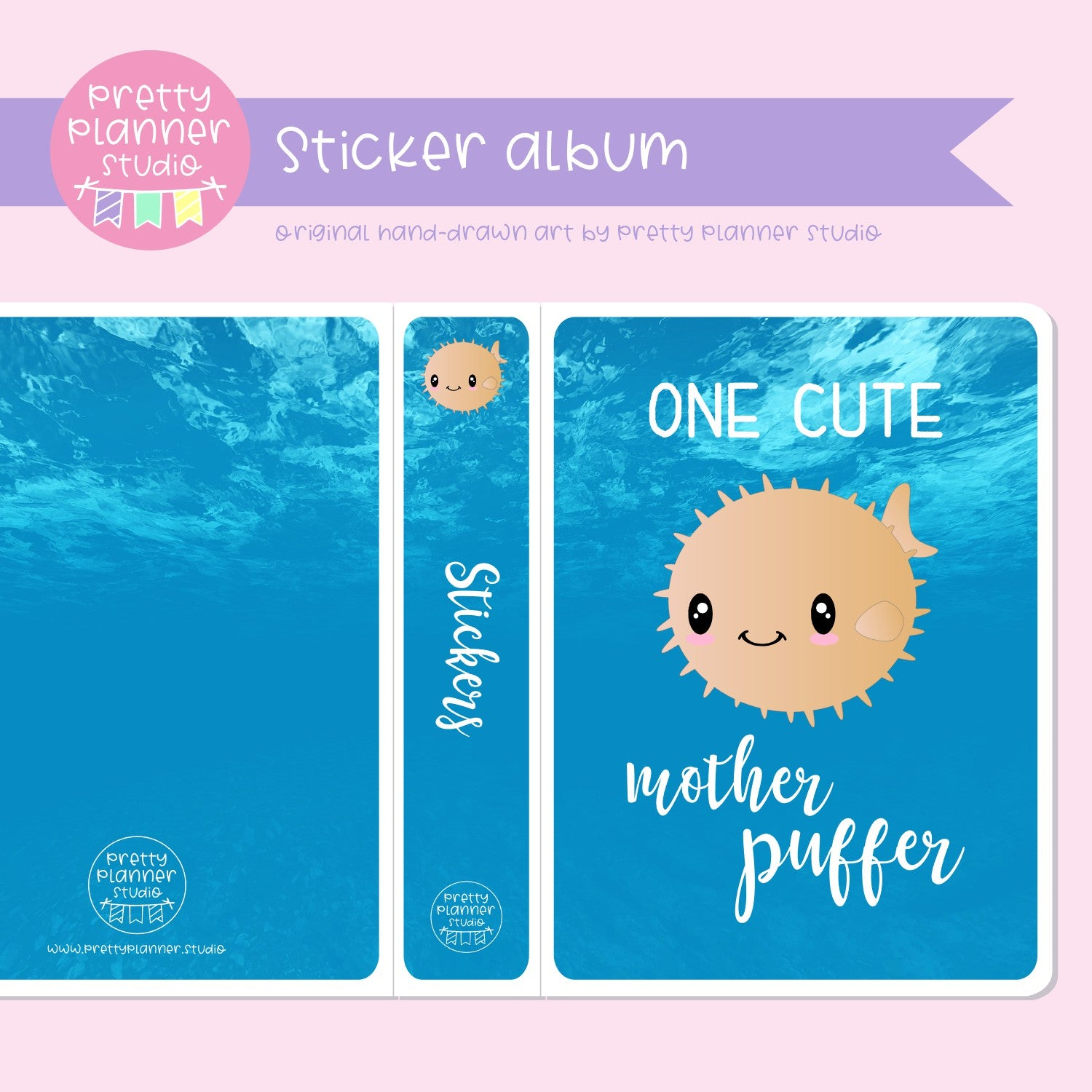 Under the sea - One cute mother puffer | sticker album | US-006/3