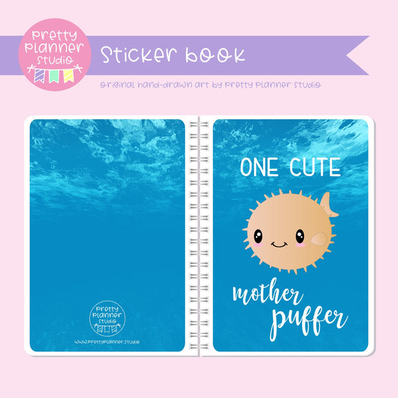 Under the sea - One cute mother puffer | sticker book | US-007/3