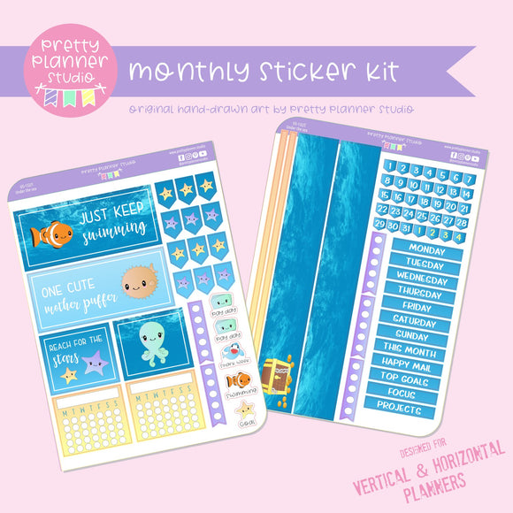Under the sea | monthly sticker kit | vertical or horizontal | US-132