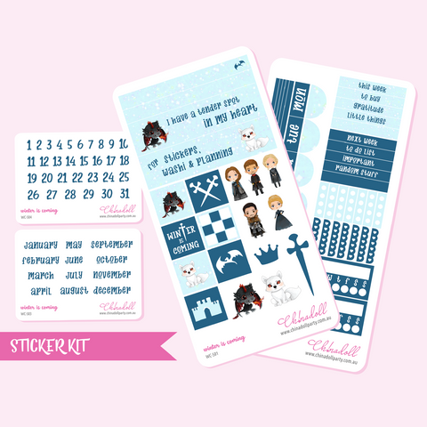 game of thrones - winter is coming | weekly sticker kit | hobonichi weeks | WC-501 to WC-504