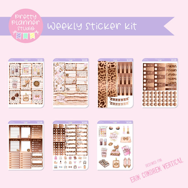 Wild and chic - fashion | weekly sticker kit | vertical | WF-131