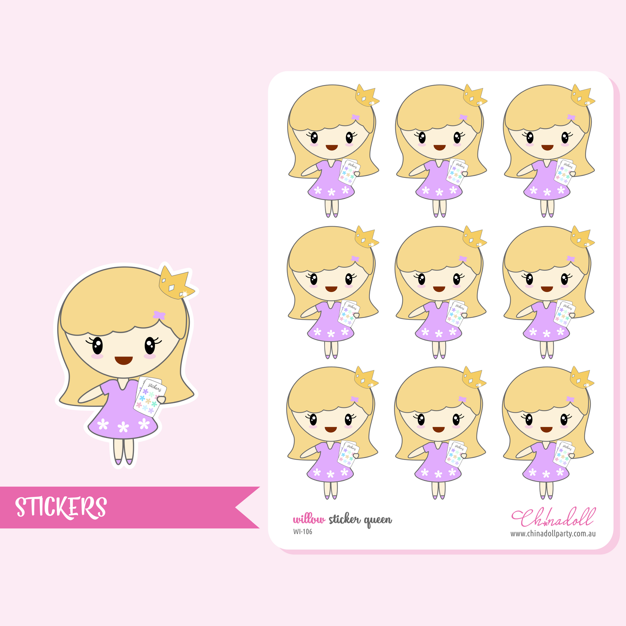 planner girl - willow - sticker queen | sticker sheet | WI-106