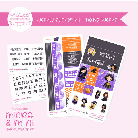 witch or princess | weekly sticker kit | hobonichi weeks | WP-501 to WP-504