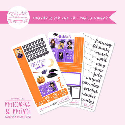witch or princess | monthly sticker kit | hobonichi weeks | WP-551 to WP-553